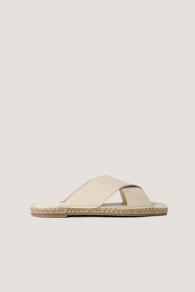 Leather Crossed Slippers Nude Croco