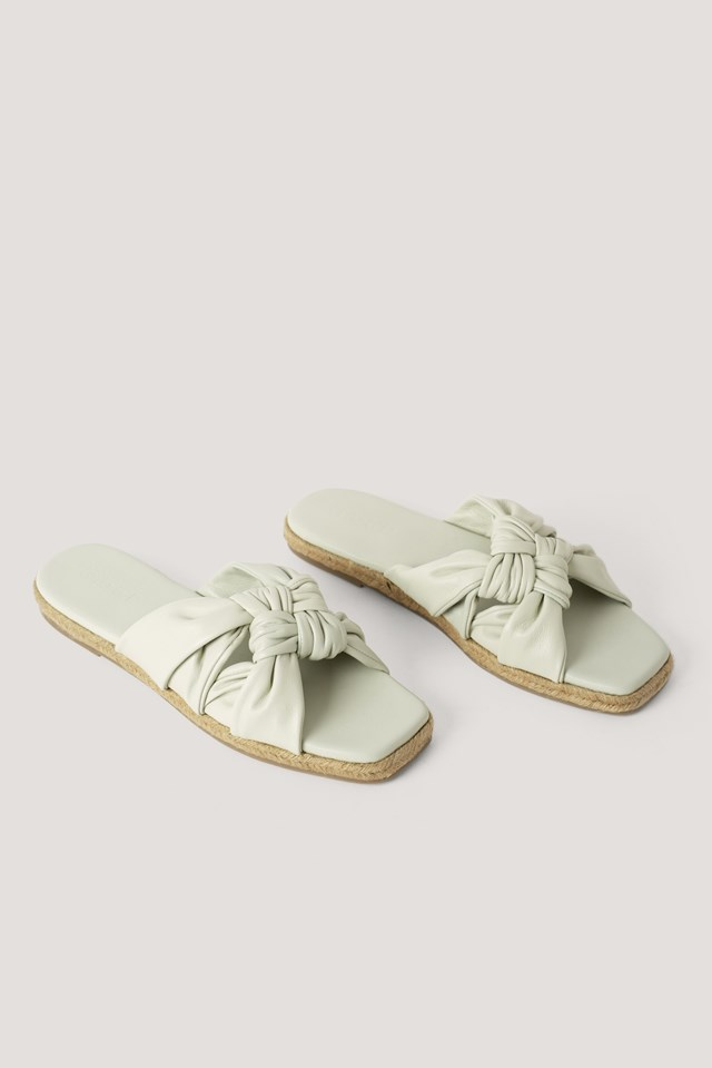 Leather Multi Knot Slippers Offwhite
