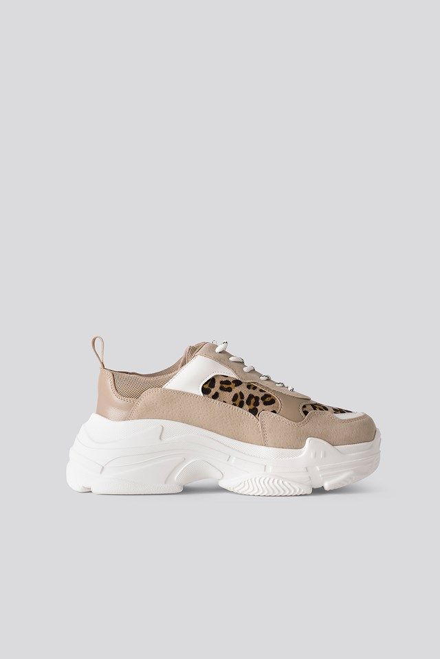 Leo Mix Chunky Trainers Nude Leopard Suede