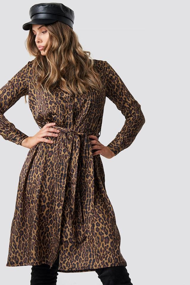 Leopard Print Satin Dress NA-KD Trend