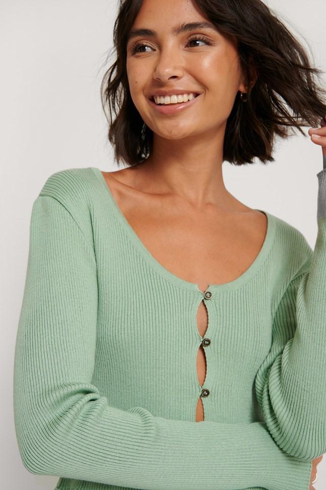 Light Knit Buttoned Cardigan Pistachio