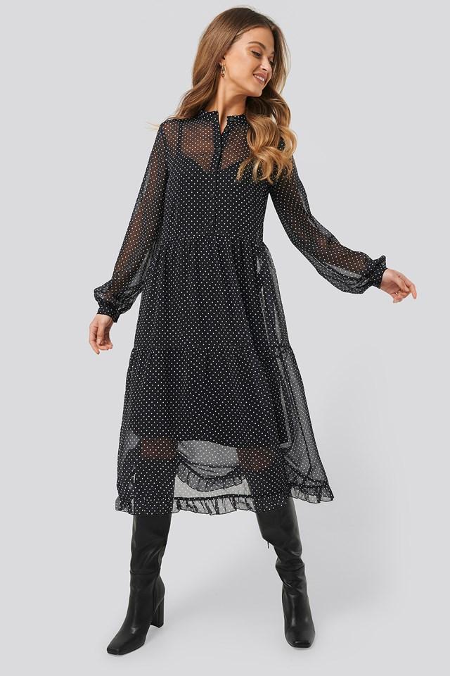 Light Chiffon Printed Dress Dot Print