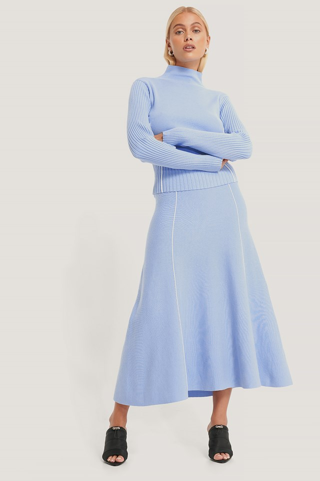 Light Knit Seam Detail Skirt Light Blue