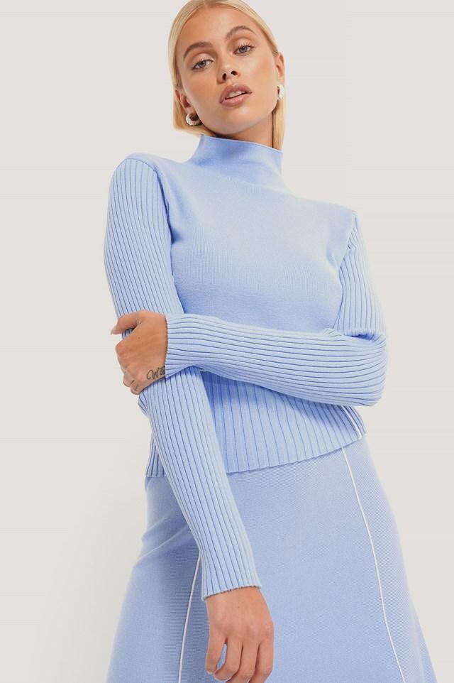 Light Knit Seam Detail Sweater Light Blue