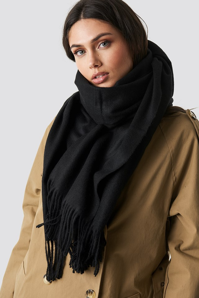 Light Wool Blend Scarf Black