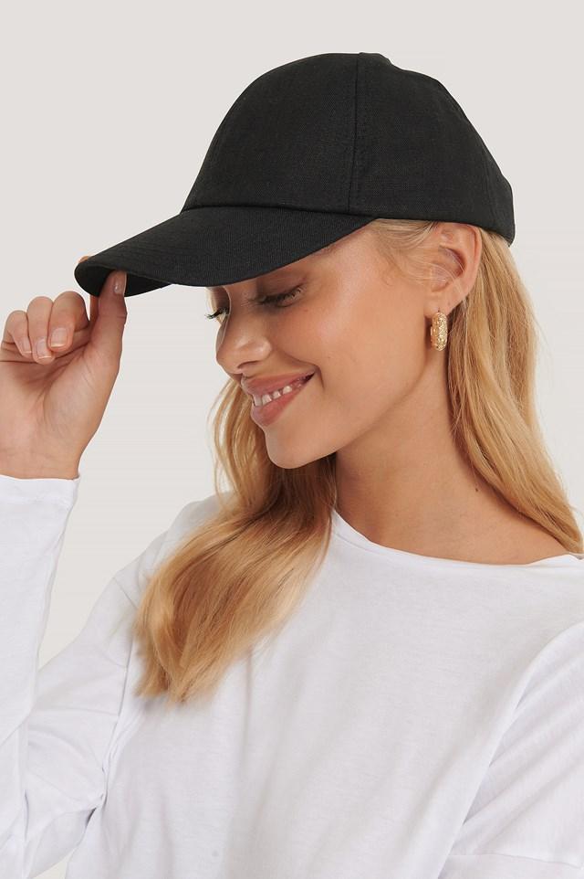 Black Linen Baseball Cap