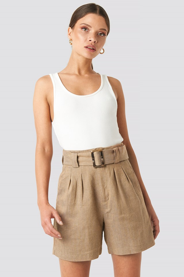 Linen Blend Belted Shorts NA-KD Classic