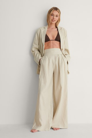 Light Grey Linen Detail Waist Pants
