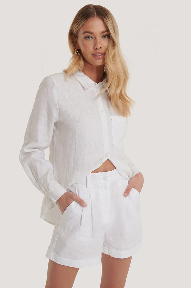 Linen Folded Shorts White