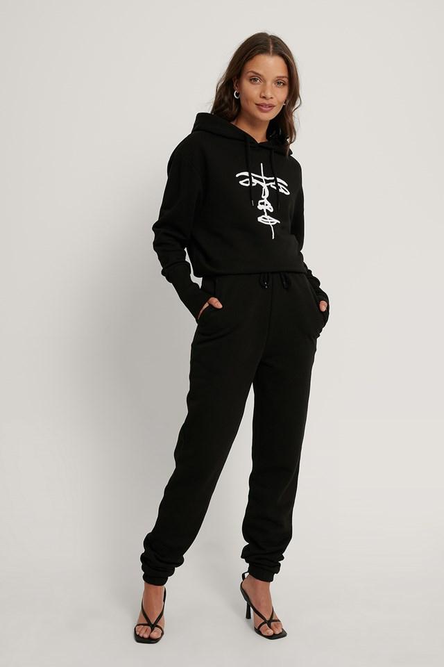 Organic Drawstring Printed Sweatpants Black