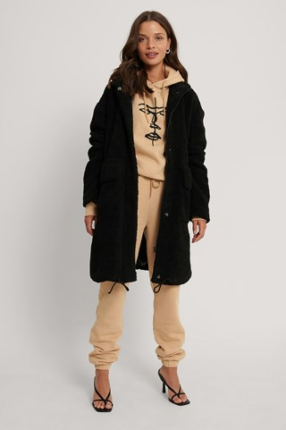 Black Front Pocket Drawstring Teddy Coat