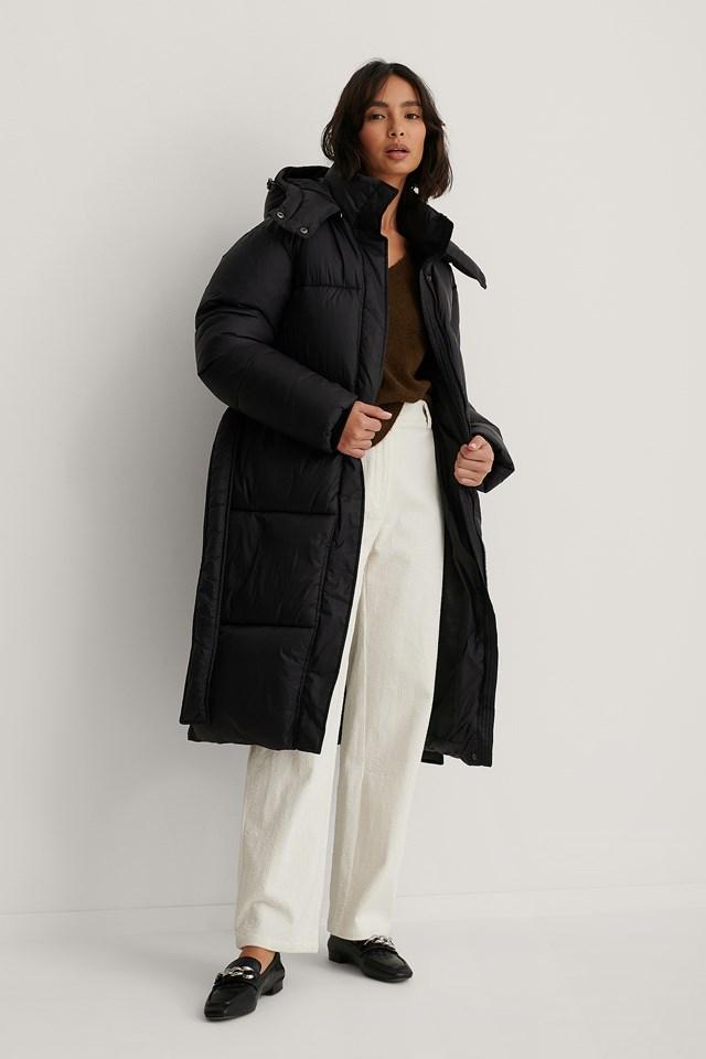 Long Belted Puffer Jacket Black