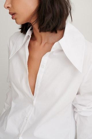 White Long Collar Blouse