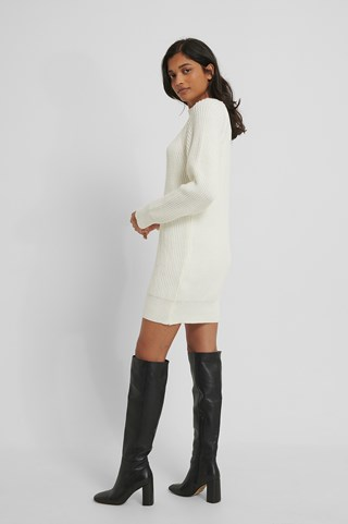 White Long High Neck Knitted Sweater