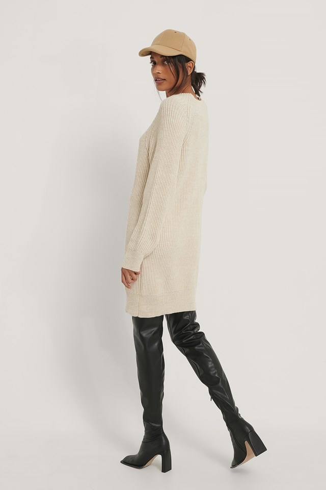Light Beige Long High Neck Knitted Sweater
