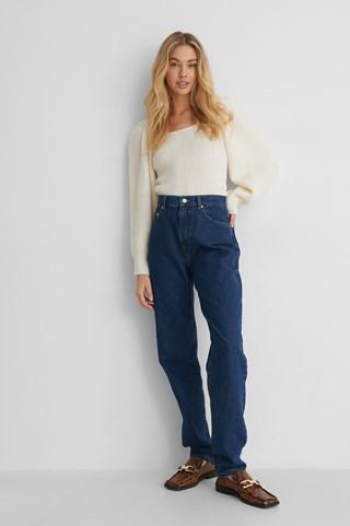 Dark Blue Organic Long Leg Slouchy Mom Jeans