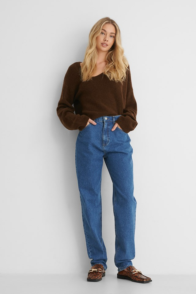 Long Leg Slouchy Mom Jeans Mid Blue