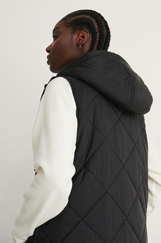 Black Long Padded Vest
