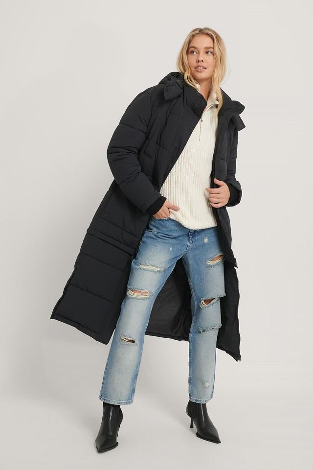 Long Padded Zipper Jacket Black