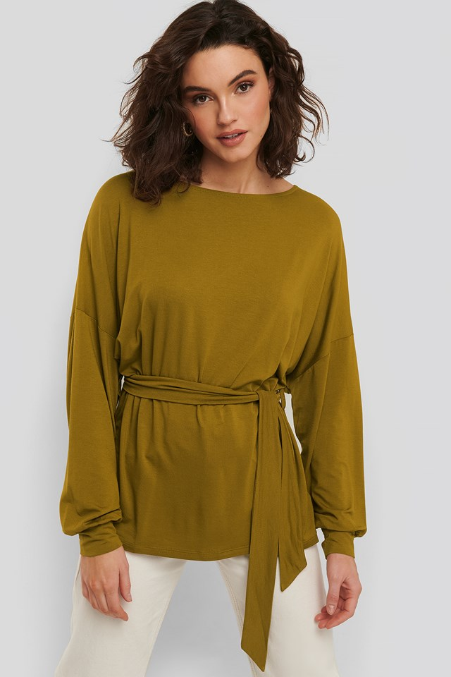 Belted Long Sleeve Top NA-KD