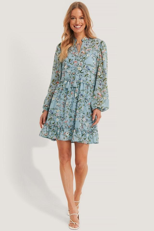 Long Sleeve Flowy Mini Dress Blue