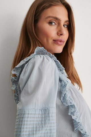 Dusty Blue Long Sleeve Frill Cotton Blouse