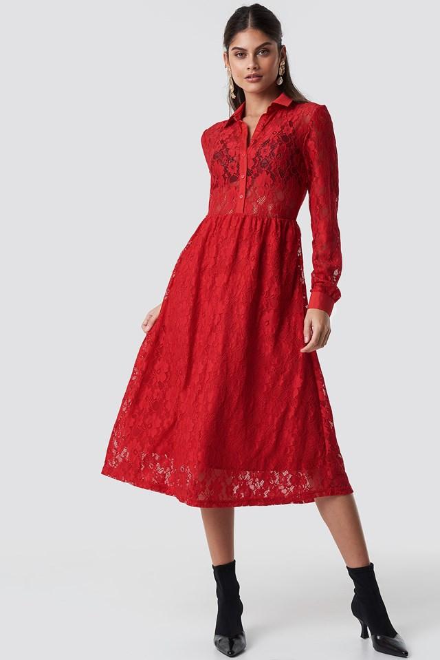 Long Sleeve Lace Midi Dress Red
