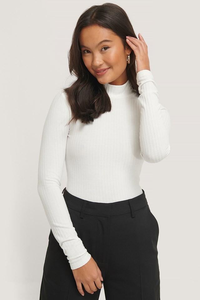 Long Sleeve Rib Top Off White