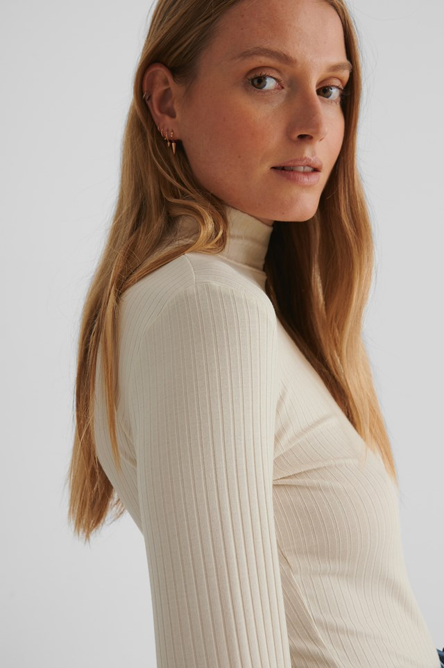 Long Sleeve Ribbed Polo Top Dusty Light Beige