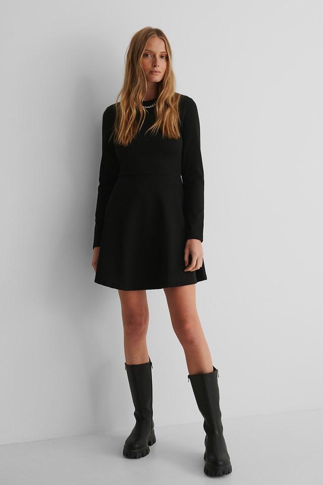 Long Sleeve Skater Dress Black