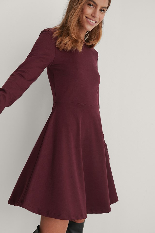 Long Sleeve Skater Dress Burgundy