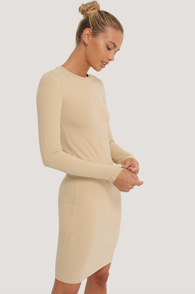 Long Sleeve Soft Dress Beige