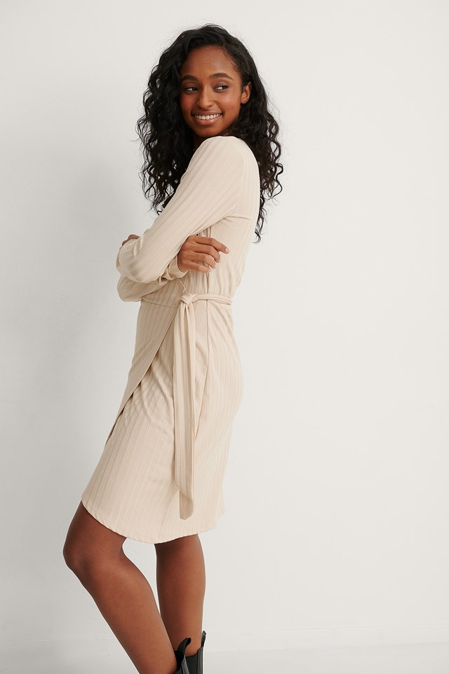 Beige Long Sleeve Wrap Dress