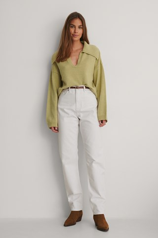 White Organic Loose Fit Jeans