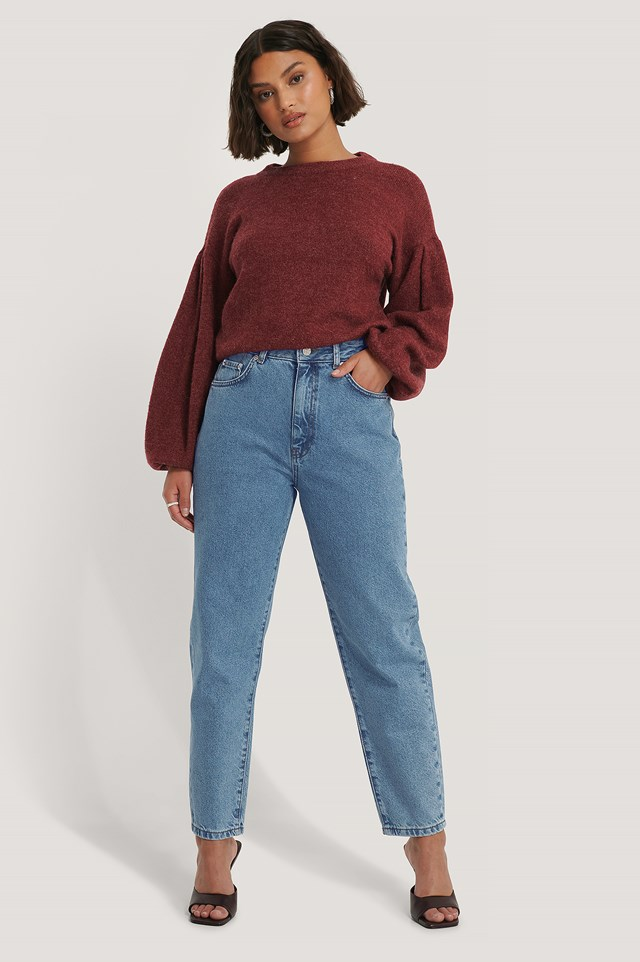 Organic Loose Fit Mom Jeans Mid Blue