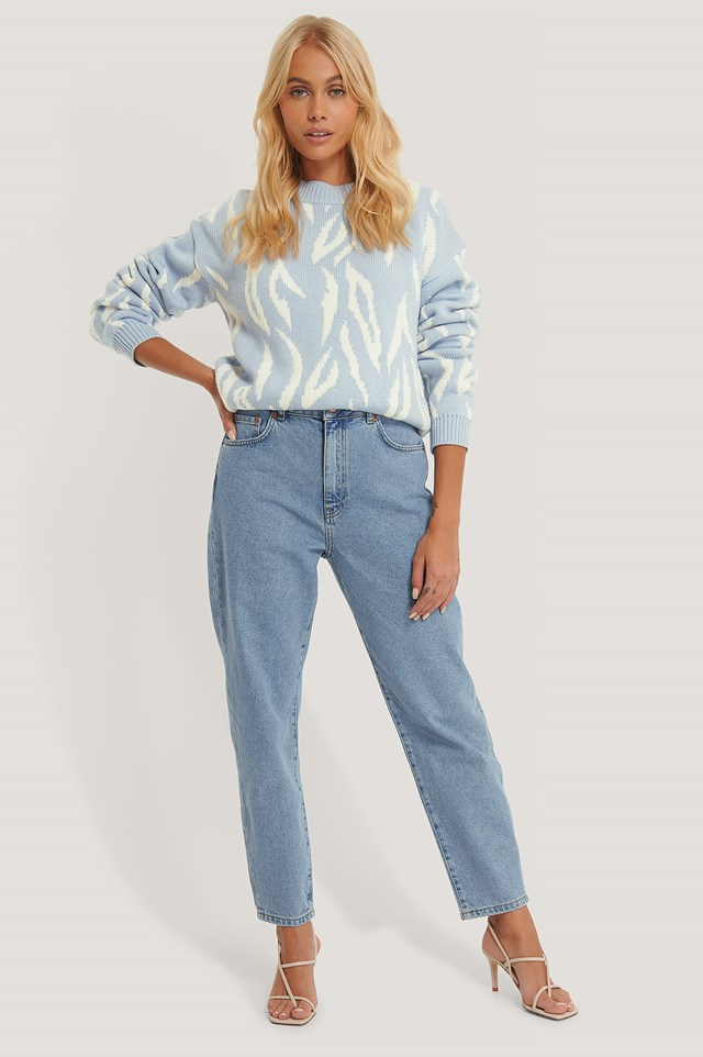 Organic Loose Fit Mom Jeans Light Blue