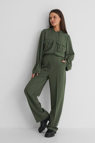Dark Green Loose Fit Suit Pants