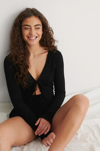 Black Front Tie Ribbed Loungewear Top