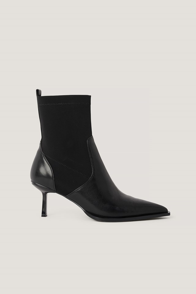 Low Stiletto Welt Detailed Boots Black