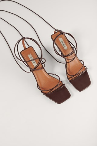 Chocolate Low Stiletto Ankle Strap Heels