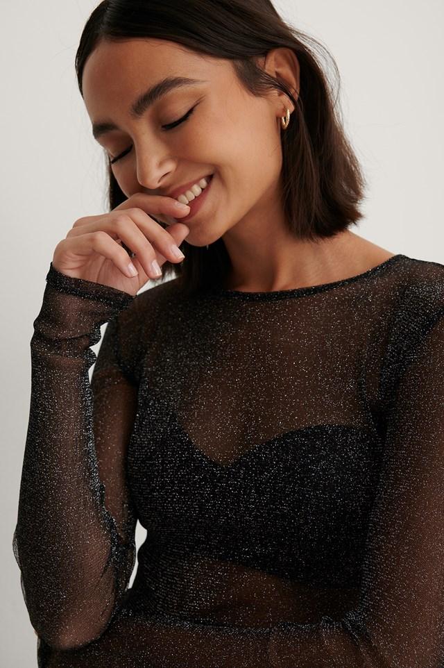 Long Sleeve Glitter Mesh Top Black
