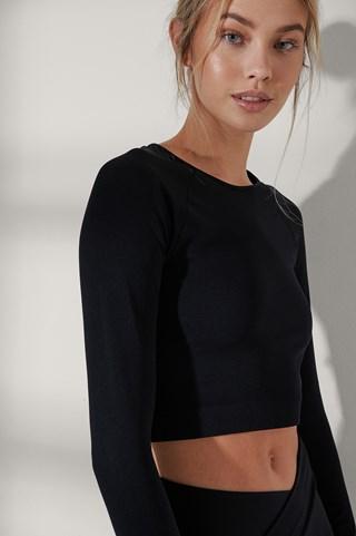 Black LS Seamless mesh top
