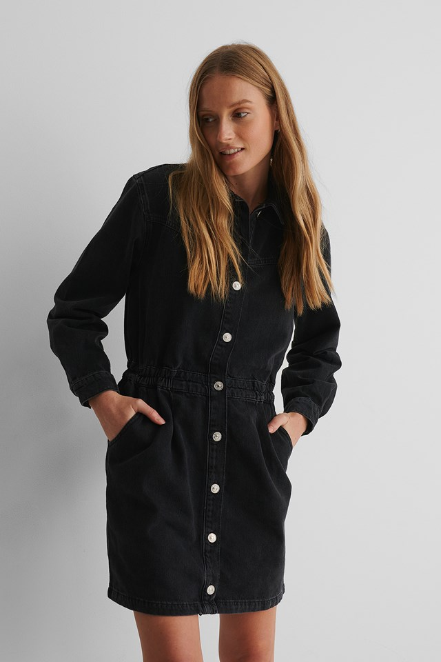 Luna Dress Black Denim
