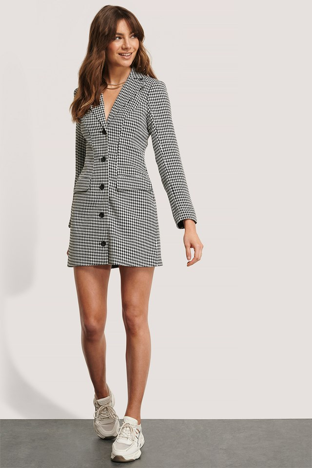 Marked Shoulders Blazer Dress Houndtooth Print