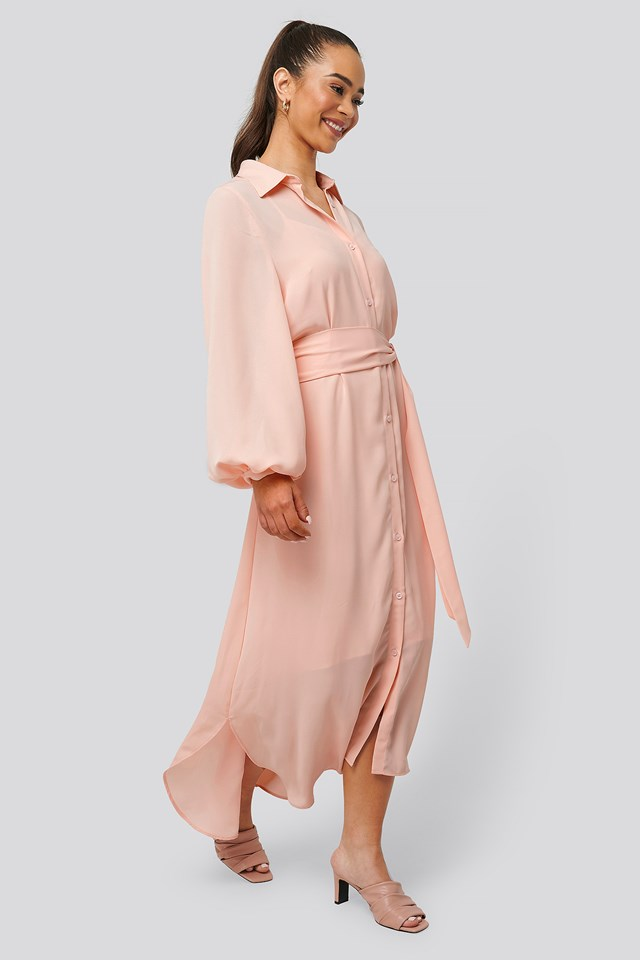 Maxi Belted Dress Pink