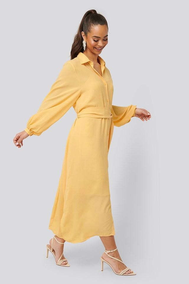Maxi Belted Dress Light Yellow