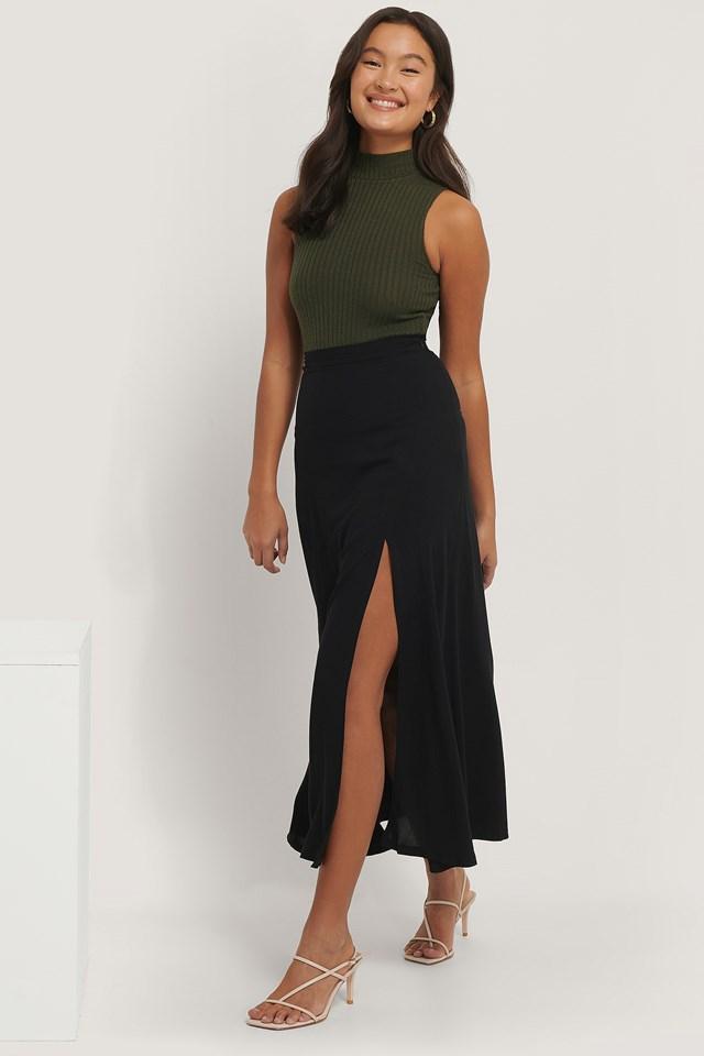 Maxi Slit Skirt Black