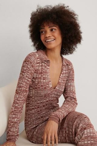 Red Melange Melange Knitted Midi Dress