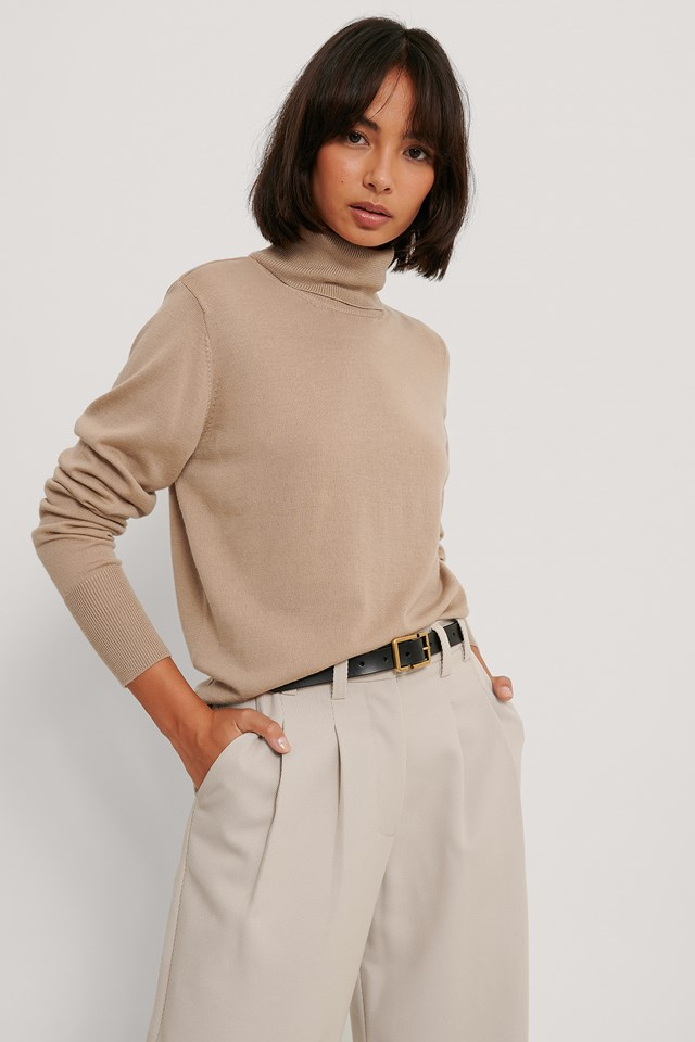 Merino Wool High Neck Sweater Beige