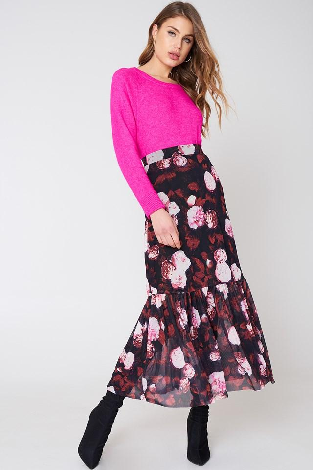 Mesh Ankle Length Skirt Red Flower